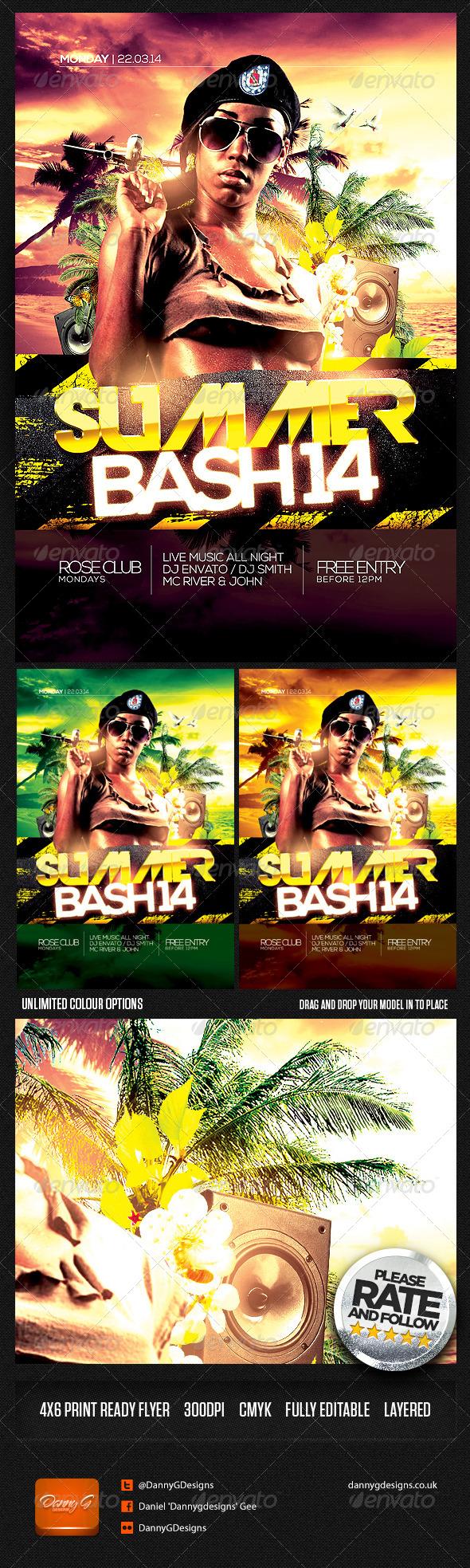 Summer Bash '14 Flyer Template PSD - Clubs & Parties Events