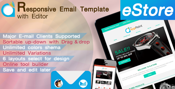 eStore – Responsive Email Template with Editor