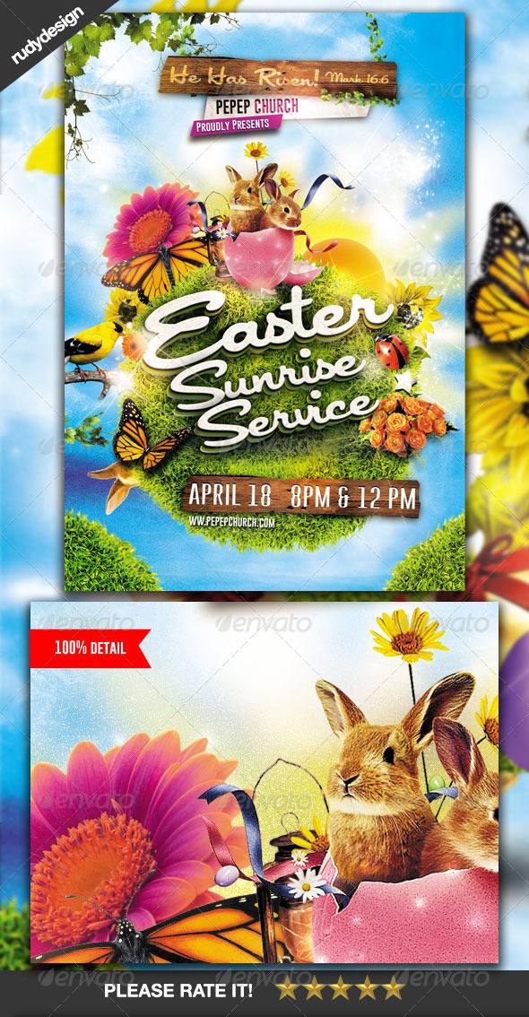 Easter Sunrise Service Flyer - Church Flyers