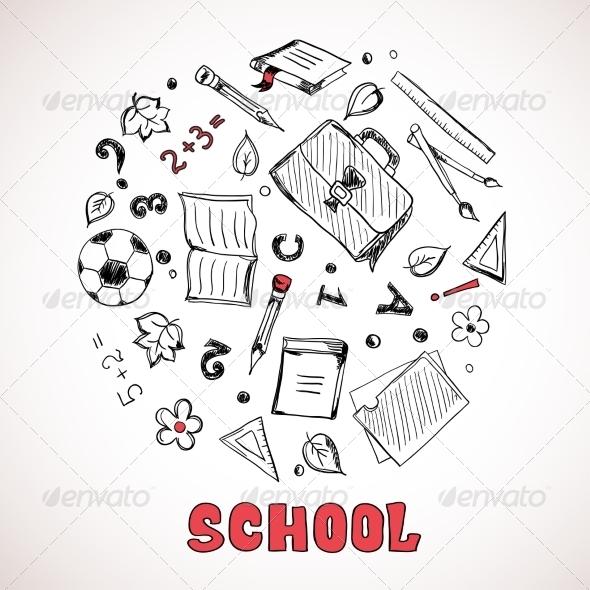 Sketch of School Elements - Decorative Symbols Decorative