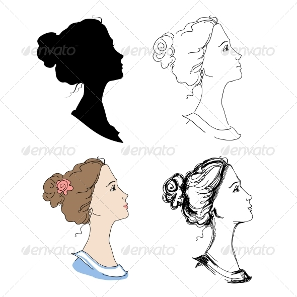Woman Head Profiles - People Characters