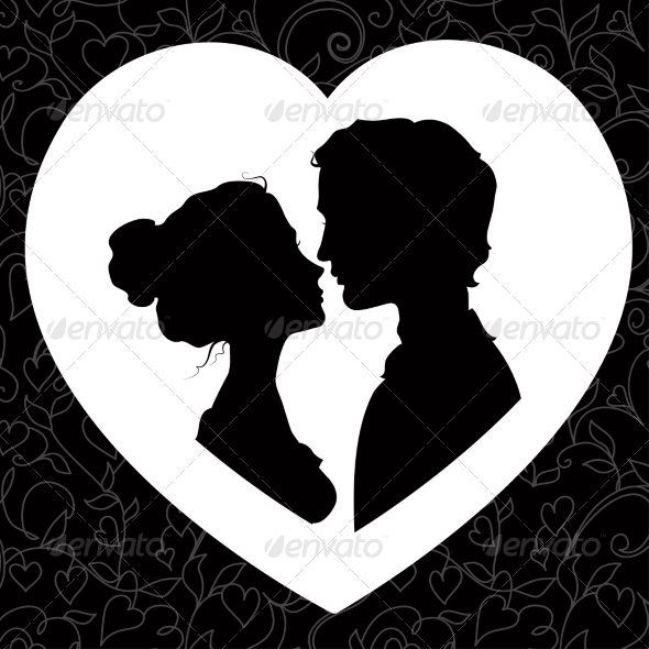 Silhouettes of Loving Couple - People Characters
