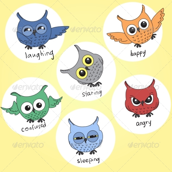 Cartoon Owls in Different Moods - Patterns Decorative