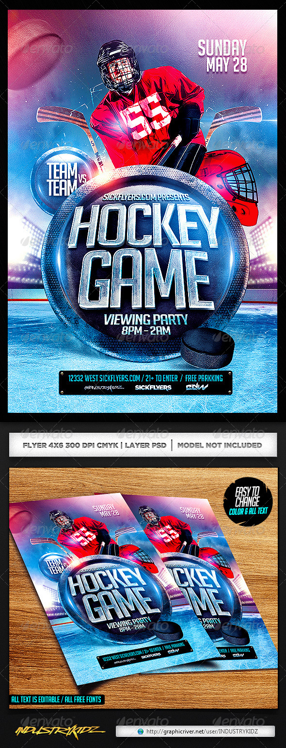 Hockey Flyer PSD - Sports Events