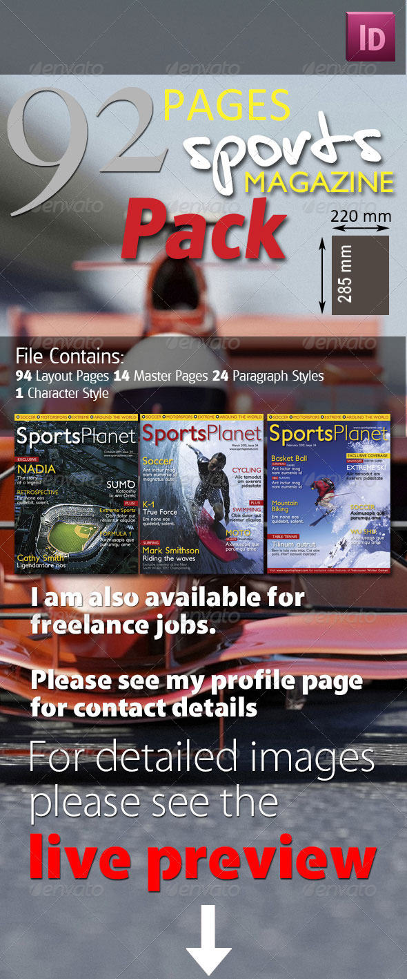 92 Pages Sports Magazine Pack - Magazines Print Templates
