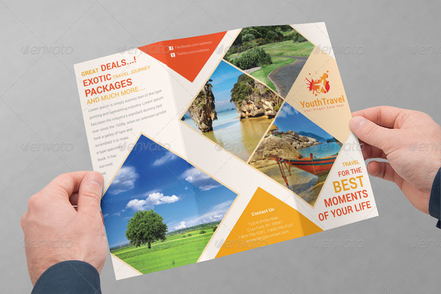Travel business tri fold brochure volume 3 by dotnpix graphicriver for Tri fold travel brochure