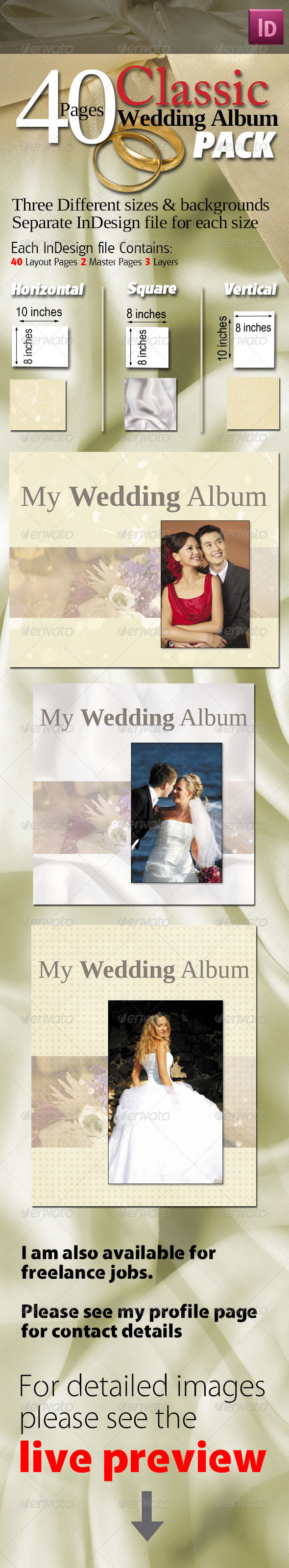 40 Pages Classic Wedding Albums Pack - Miscellaneous Print Templates