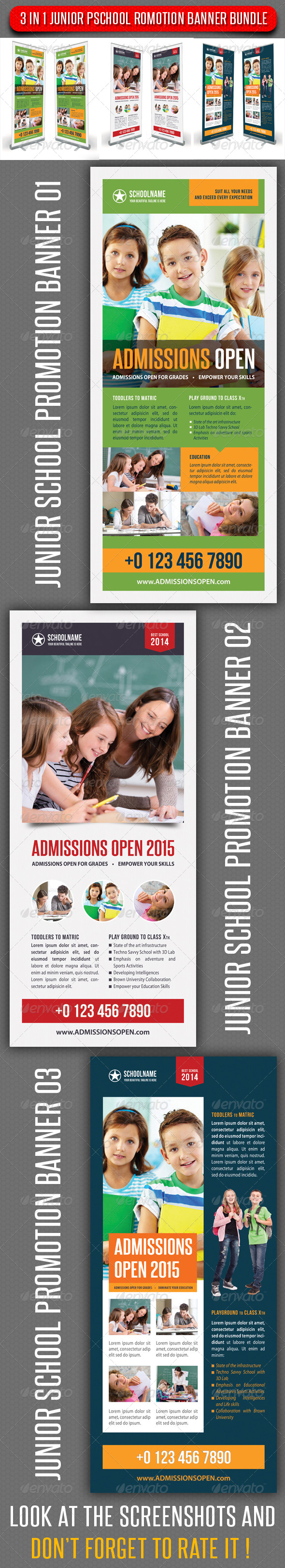 3 in 1 Junior School Promotion Banner Bundle 03 - Signage Print Templates