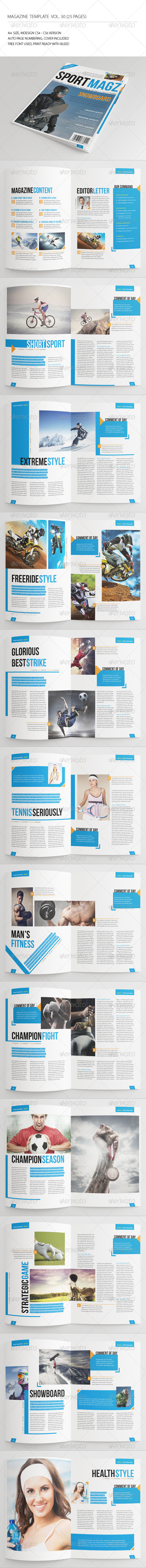 25 Pages Sport Magazine Vol30 - Magazines Print Templates