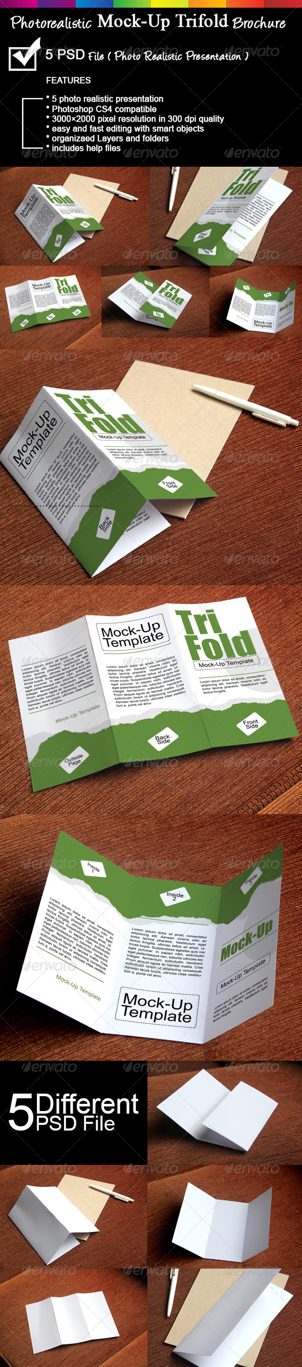 Photorealistic Trifold Brochure Mock-Up - Brochures Print
