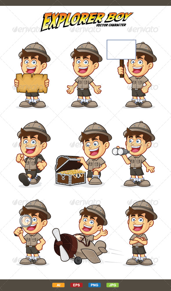 Boy Scout or Explorer Boy Character - People Characters