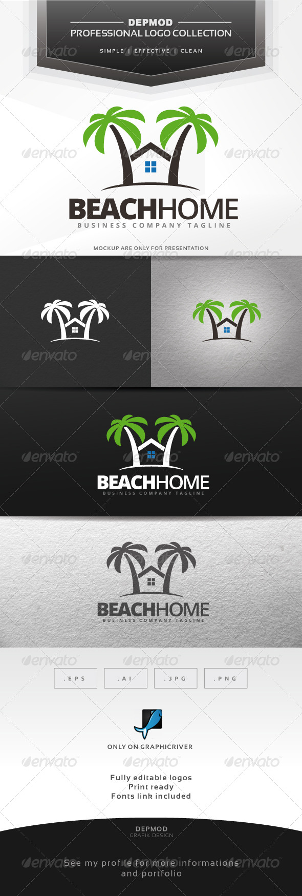 Beach Home Logo - Buildings Logo Templates