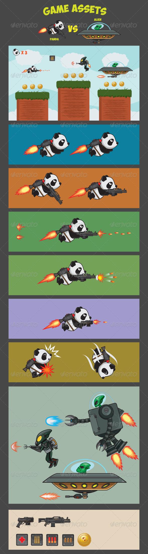 Game Assets - Panda Versus Alien - Sprites Game Assets