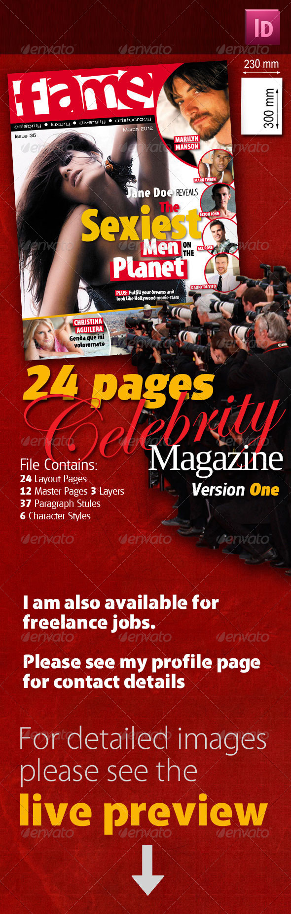 24 Pages Celebrity Magazine Version One - Magazines Print Templates