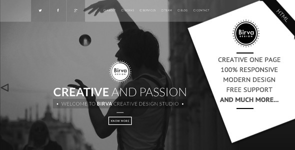 Birva Design : Creative One Page Theme