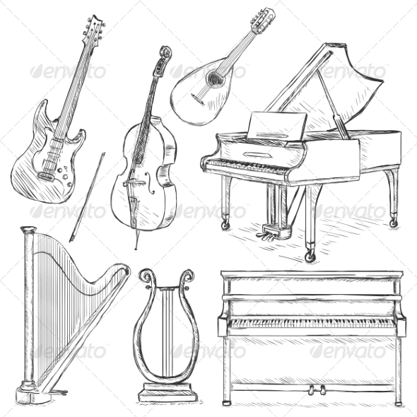 Vector Set of Musical Instruments - Man-made Objects Objects