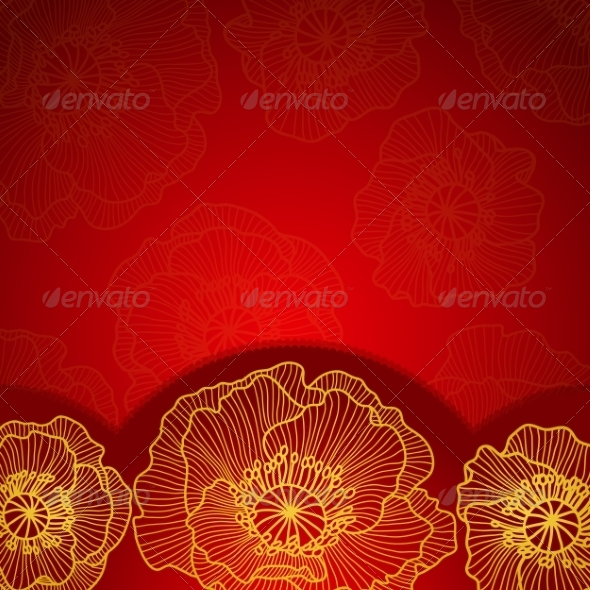Red Invitation Frame with Gold Lace Poppy - Backgrounds Decorative