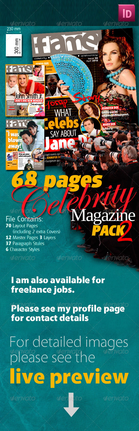 68 Pages Celebrity Magazine Pack 2 - Magazines Print Templates