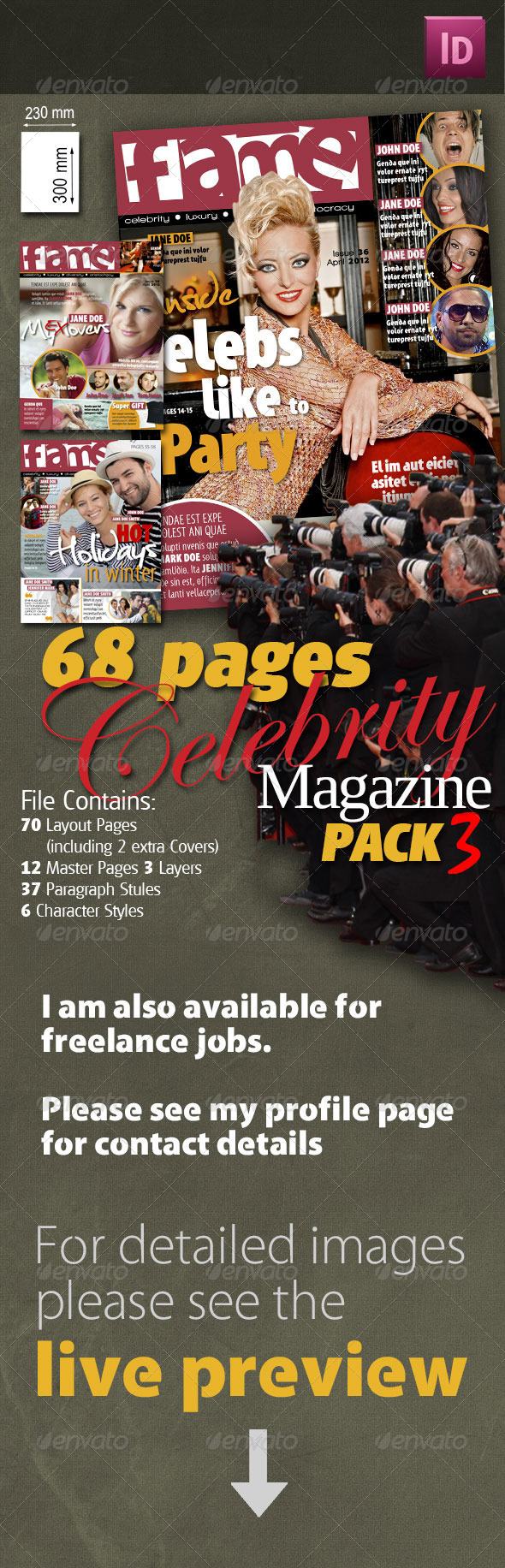 68 Pages Celebrity Magazine Pack 3 - Magazines Print Templates