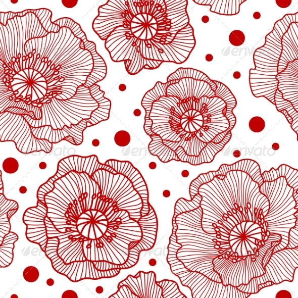 Seamless Pattern with Red Lace Poppies - Flowers & Plants Nature