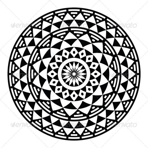 Tribal Aztec Geometric Pattern or Print in Circle  - Patterns Decorative