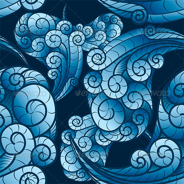Seamless Wave Swirls Pattern - Patterns Decorative