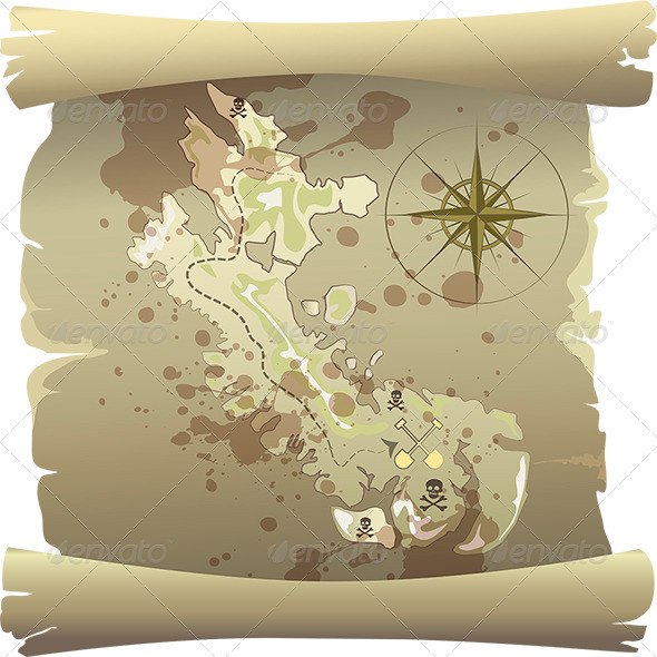 Pirate Map - Objects Vectors