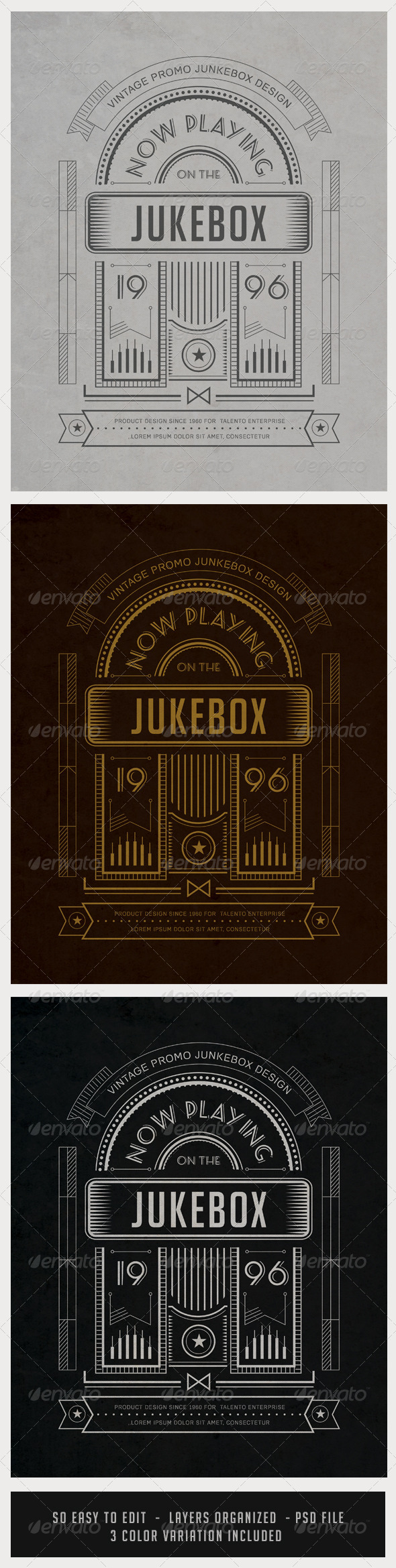 Vintage Junkebox Poster with Shape Layers - Retro/Vintage Business Cards