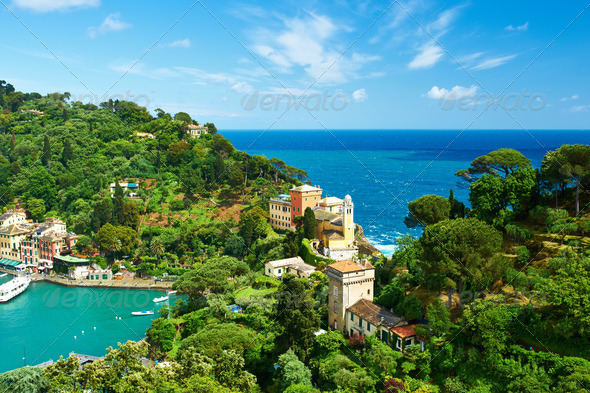 Portofino village on Ligurian coast, Italy - Stock Photo - Images