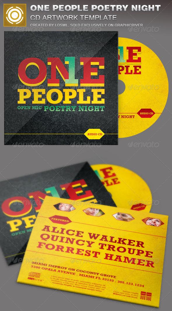 One People Poetry Night CD Artwork Template - CD & DVD Artwork Print Templates