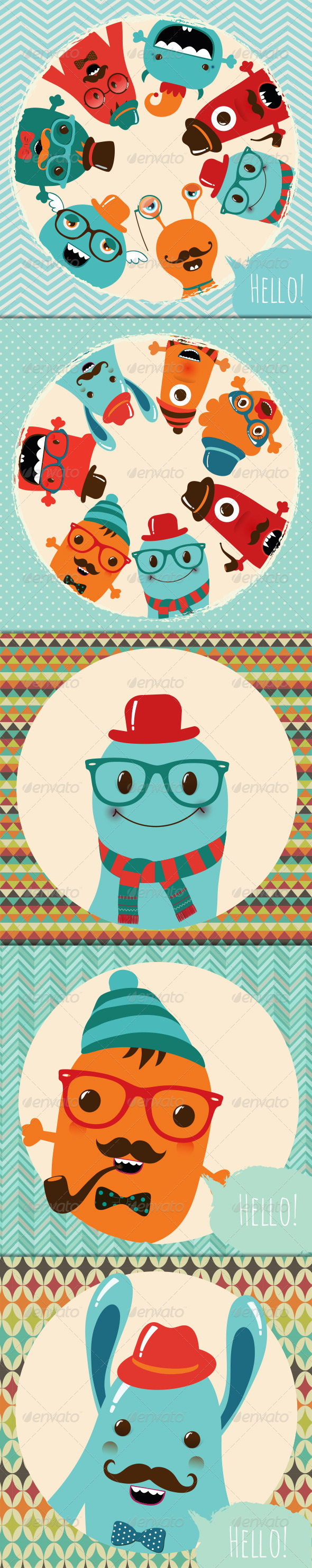 Banner Backgrounds with Hipster Monsters - Characters Vectors
