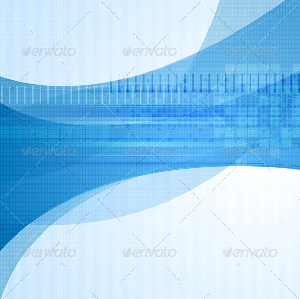 Wavy blue tech vector design - Web Technology