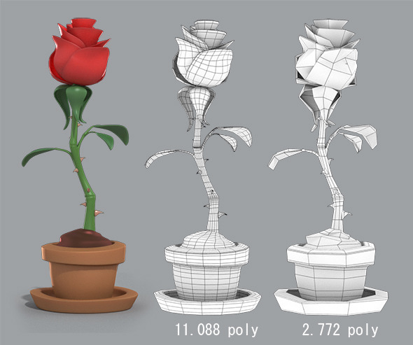 Cartoon Rose in the pot - 3DOcean Item for Sale