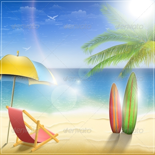 Sunny Ocean Coast with Palm - Travel Conceptual