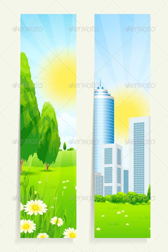 Two Vertical Banners with Nature and City - Landscapes Nature