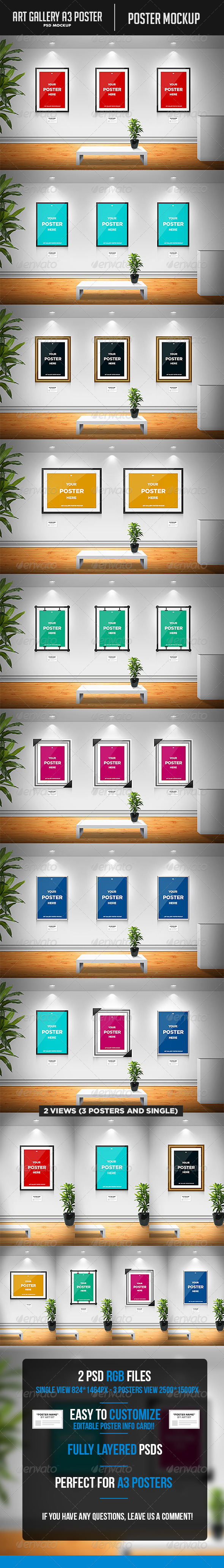 Art Gallery A3 Poster Mockup - Posters Print