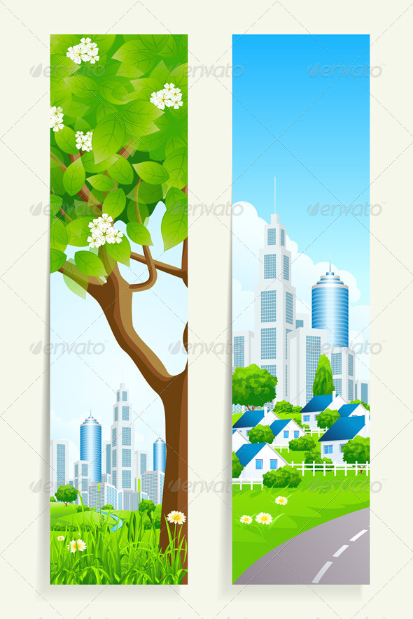 Two Vertical Banners with City - Landscapes Nature