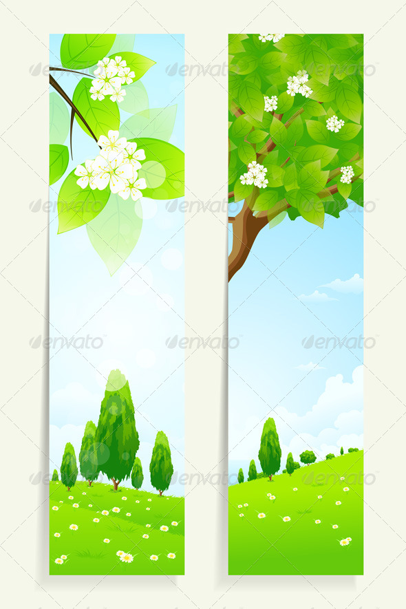 Two Vertical Banners with Nature - Landscapes Nature