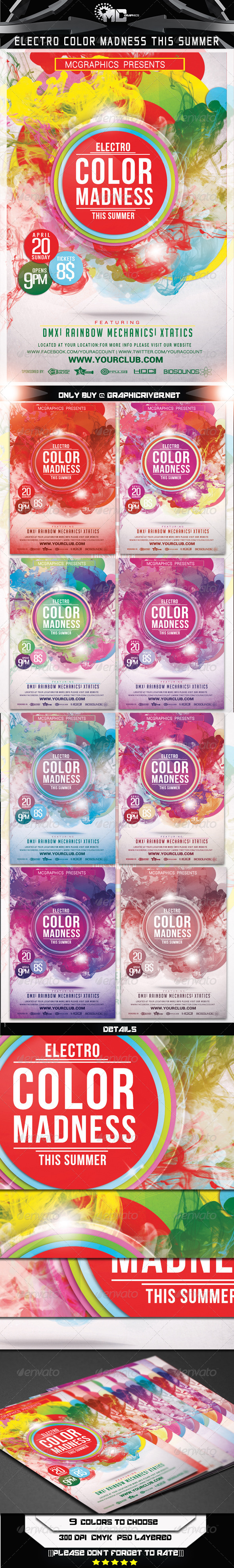 Electro Color Madness This Summer Flyer Template - Clubs & Parties Events