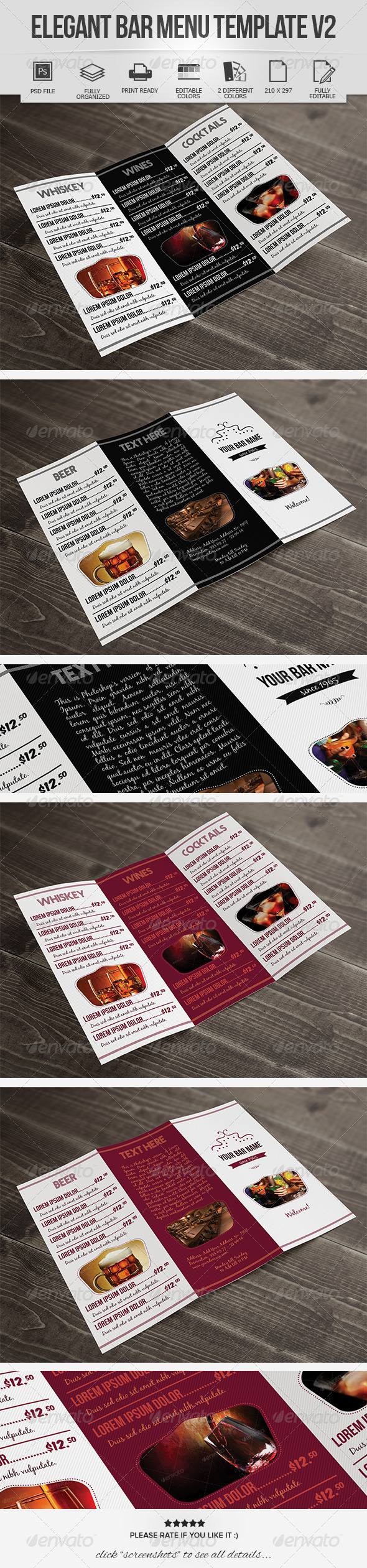 Elegant Bar Menu Design V2 - Food Menus Print Templates