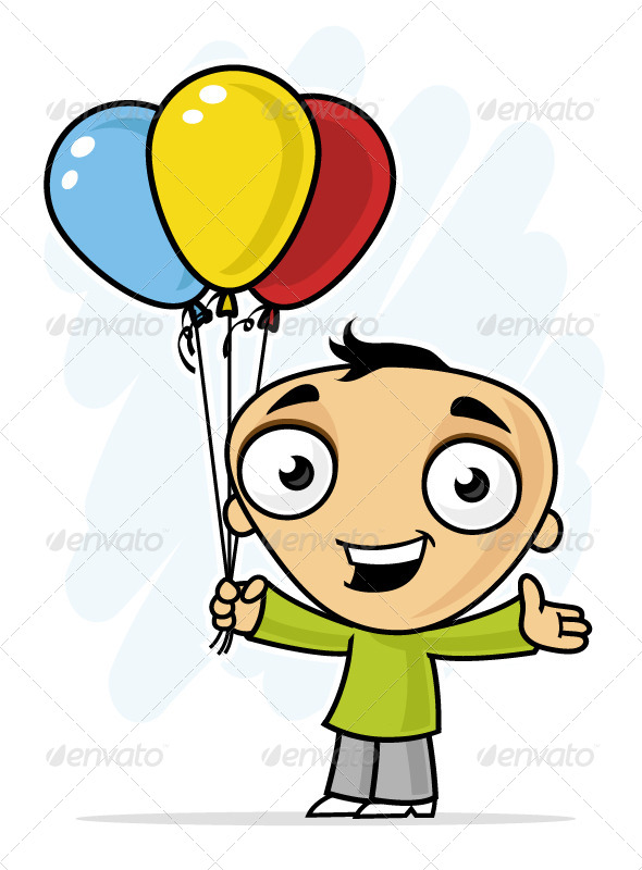 Boy with Balloons - People Characters