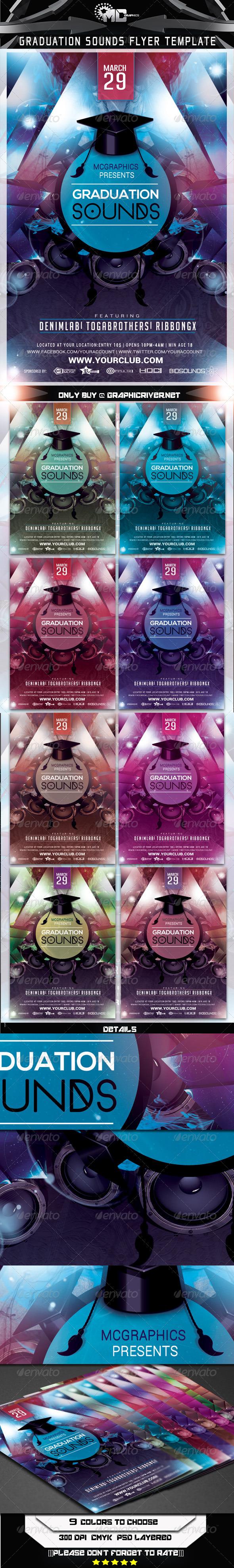 Graduation Sounds Flyer Template - Flyers Print Templates