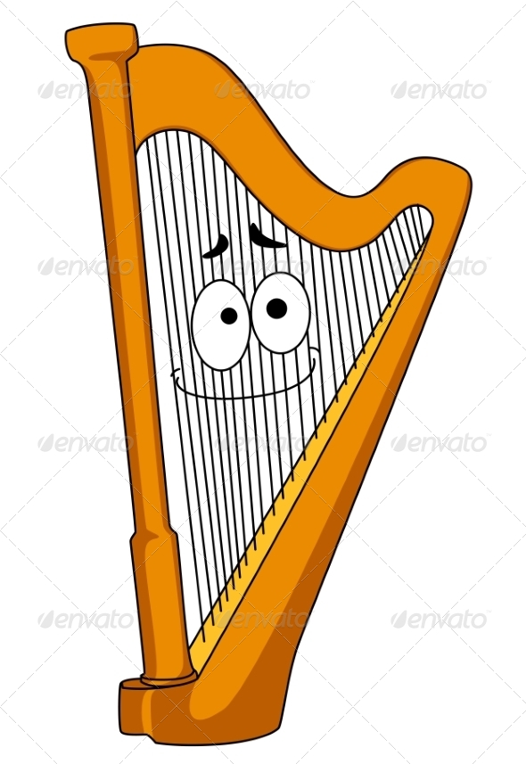 Classical Wooden Harp - Man-made Objects Objects