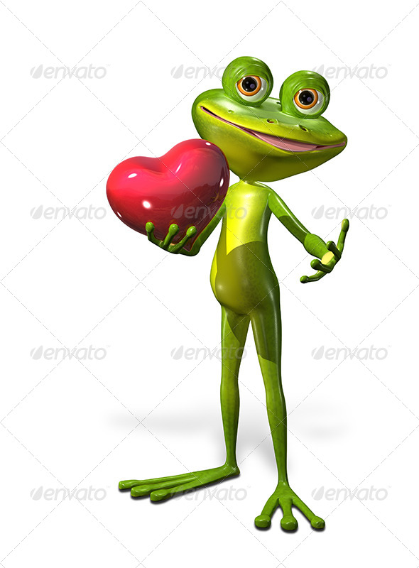 Frog with Heart - Characters 3D Renders
