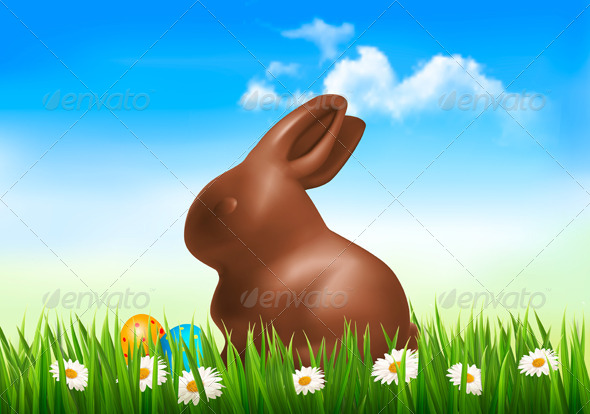 Holiday Easter Background with Chocolate Bunny - Seasons/Holidays Conceptual