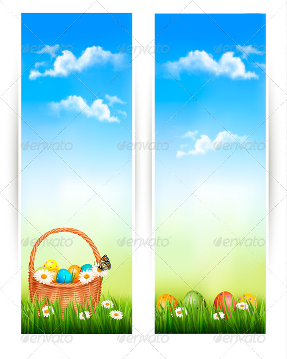 Easter Banners with Easter Eggs in Basket - Seasons/Holidays Conceptual