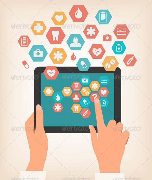 Touching Screen of a Tablet with Medical Icons - Health/Medicine Conceptual