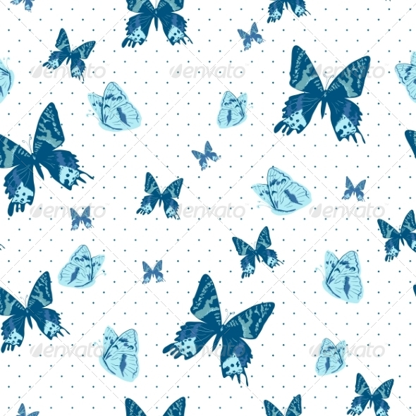 Vintage Seamless Background with Butterflies - Patterns Decorative