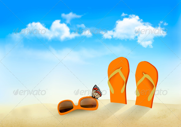 Flip Flops Sunglasses and a Butterfly on a Beach - Travel Conceptual