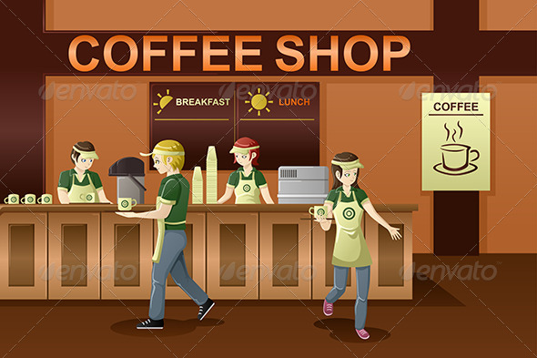 People Working in a Coffee Shop - People Characters